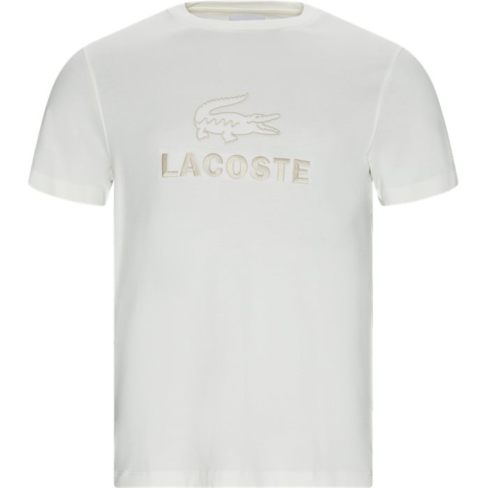 Crew Neck Tone-On-Tone Lacoste Embroidery Cotton T-shirt - T-shirts - Regular - Hvid
